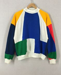 Vintage 80's Super Colorful Colorblock Sweatshirt Size M/L by DowntownGenerations on Etsy https://www.etsy.com/listing/454266548/vintage-80s-super-colorful-colorblock