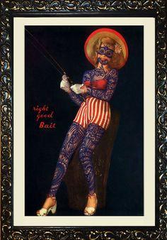 Fishing souls Artista: Ramon Maiden Rotuladores Staedtler Lumocolor y lápices de acuarela sobre un póster original de los años 50. Dimensiones: 50 x 65 cm (marco incluido)