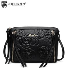 68.10$  Buy here - http://aingq.worlditems.win/all/product.php?id=32798296110 - ZOOLER 100% Bag Ladies Of Genuine Leather Embossed Zipper Bolsa De Couro Top Quality Luxury Crossbody Women Messenger Bags