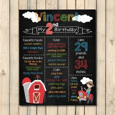 Custom Chalkboard Birthday Sign Poster, Printable, Farm Theme, Boy or Girl, Child Birthday by CaraCoPrintables on Etsy https://www.etsy.com/listing/244563680/custom-chalkboard-birthday-sign-poster