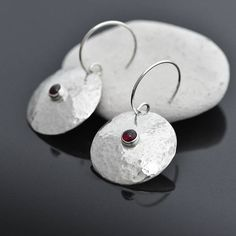 Round Garnet Earrings, Garnet Jewelry, Round Earrings with Garnet Silver Dome, Silver & Garnet Jewellery, January Birthstone Earrings Gift by ianaJewellery on Etsy