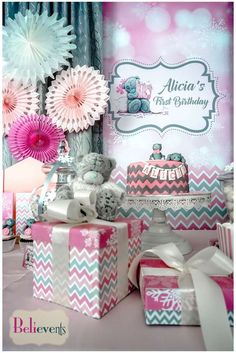 Elaborate chevron birthday party! See more party ideas at CatchMyParty.com!