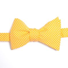 Nœud papillon Mini pois jaune soleil  Sunshine yellow with pin dots bow tie