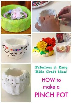 How to make a Pinch Pot. This is a fantastic art idea for kids, a craft project that makes a great gift! How to make a Pinch Pot. This is a fantastic art idea for kids, a craft project that makes a great gift! Clay Projects For Kids, Clay Crafts For Kids, Diy For Kids, Craft Projects, Arts And Crafts, Diy Crafts, Simple Projects, Craft Ideas, Clay Pinch Pots