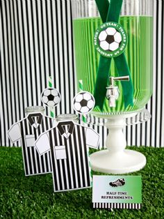Football or Soccer Birthday Party Drinks Station