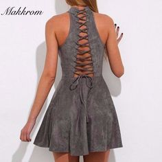 Backless Hollow Out Empire Halter Mini Dress