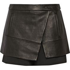 Leather and gabardine shorts