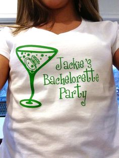 Bachelorette tshirt White vneck tee with green by WaterfallDesigns