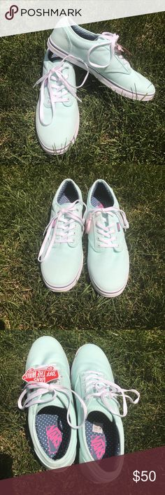 Mint Green Women's Vans 9.5 Brand new never worn Vans. Women's size 9.5. Gorgeous mint green color with adorable blue and mint polka dot inside with pink Vans logo. Vans Shoes Sneakers