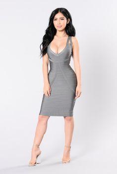 "- Available In Grey - Sleeveless ""V"" Neck Bandage Dress - Back Zipper Closure - 90% Polyester 10% Spandex"