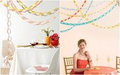 Faça você mesmo: Correntinhas de papel - http://www.blogdocasamento.com.br/noivado-nova-estrutura/decoracao-para-noivado/correntes-de-papel/