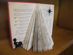 Christmas Tree Folded Book Silhouettes by UpcycledBookClub on Etsy