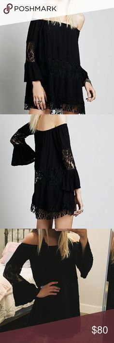 Free People Black Lace Off Shoulder Dress The little touches of Lace are perfect! The dress is even more gorgeous in person, as the Lace detail shows up better. Feel free to add two or more listings to a bundle for a major discount or to make an offer. I'm super negotiable & love bundles! I have lots of Free People, VS Pink, & Forever 21 listings if you're interested! Thanks for checking out my closet. Free People Dresses