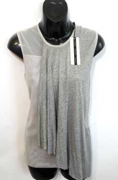 TOPSHOP EXCLUSIVE Gray Mesh Draped Front Raw Hem Sleeveless Shirt EU 36 US 4 NWT #TopShop #Casual #Casual