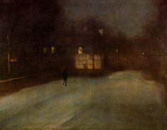 """Nocturne In Grey And Gold: Chelsea Snow""  1876 oil painting by James Abbott McNeill Whistler. From The Painter's Keys blog."