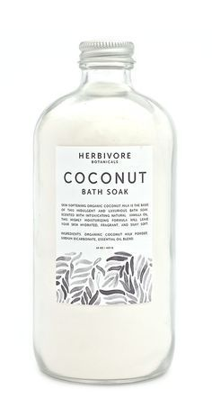Organic coconut milk powder and vanilla oil combine in this skin-softening and hydrating bath soak from Herbivore Botanical.