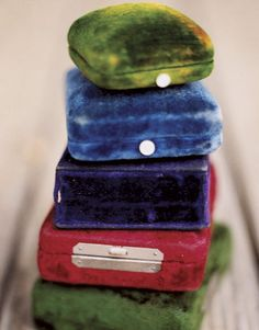 Vintage velvet jewelry boxes...I have many of these in my vintage store...if interested e-mail me at marymarysmarket@yahoo.com...