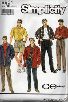 Simplicity 9931 1990s  Mens Quilted Jacket Shirt Pants Shorts mans sewing pattern by mbchills