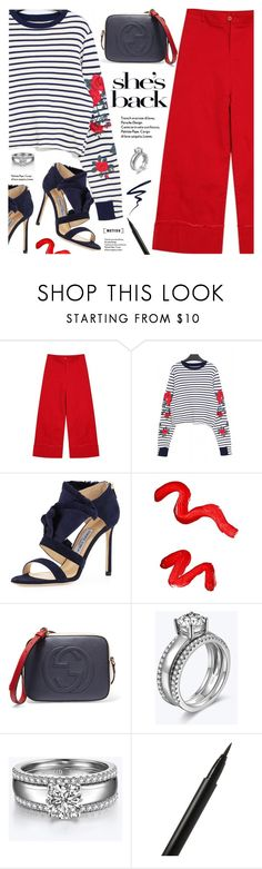 """""""She's Back"""" by metisu-fashion ❤ liked on Polyvore featuring Jimmy Choo, Topshop, Gucci, NARS Cosmetics, Butter London, polyvoreeditorial, polyvoreset and metisu"""