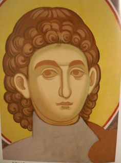 Face of Saint Procopius.  Style of Panselinos. Stage 1.