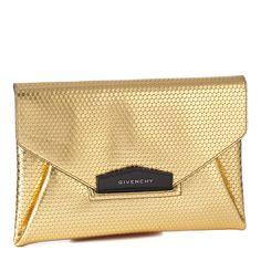 Gold/Black Leather Patterned Clutch Bag