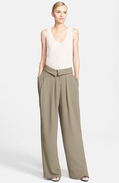 Sewing inspiration--Love the fold-over waist band detail!!  very cool pants