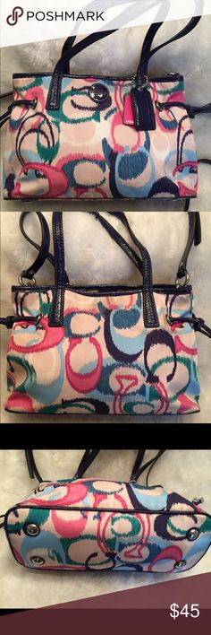 COACH Poppy Ikat Crossbody Bag COACH#C1380-F2447. Clean liner. One small strap has a small crack on it shown in pic. No scuffs. Measures 6x10. Comes with the long strap. Coach Bags Crossbody Bags