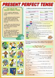 English worksheet: THE PRESENT PERFECT TENSE- GRAMMAR AND EXERCISES (TWO PAGES)