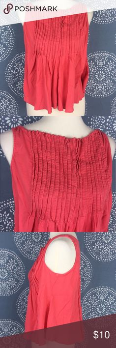 """Converse One Star Coral Sleeveless Pleated Top Cute top in a coral color with decorative pleating and stitching on the top. It flows out at the bottom and has a boho feel. Great condition. 17.5"""" armpit to armpit and 20"""" long. Converse Tops"""