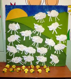 Velikonoce Diy For Kids, Crafts For Kids, Sheep Crafts, Farm Animals, Art Lessons, Projects To Try, Jar, Spring, Drawings