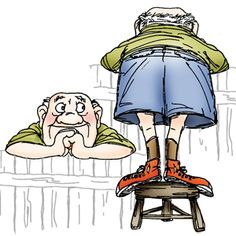 Art Impressions, Inc. - Leering old guy standing on stool with Bermuda shorts - Set of 2 (fence image is not included)