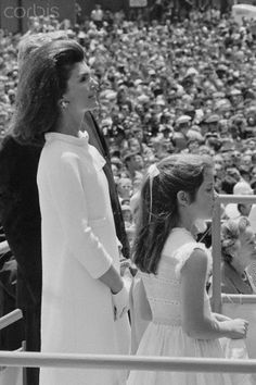 Mrs. Kennedy and Caroline, 1967, at christening of U.S.S. John F. Kennedy.