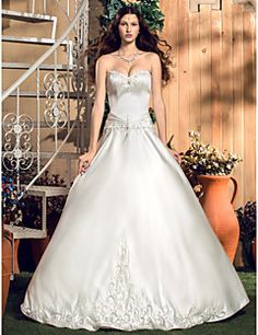 A-line/Princess Sweetheart Floor-length Satin Wedding Dress. Get wonderful discounts up to 70% Off at Light in the box using Coupons.