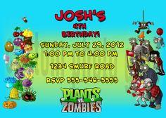 Plants vs Zombies Birthday Invitation by photocustomgifts on Etsy, $6.00