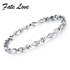 Fate Love Romantic Teardrop Czech Crystal Bracelet White Gold Color Strand Bracelets Bridal Jewelry Women Charm Accessories 952