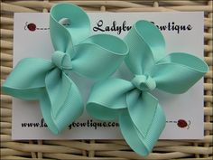 Basic 3 Inch Hair Bow Pair Aqua by LadybugBowtique on Etsy