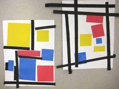 Mondriaan Art for kids #craft #paper #easy #education #artist #painter #mondrian