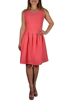 Peach Couture Womens Striped Sleeveless Sundress Summer Tank Skater Mini Dress Coral M >>> Details can be found by clicking on the image.