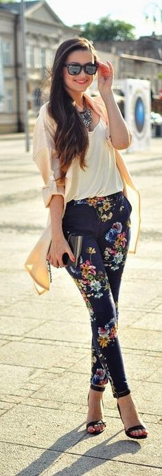 Floral Pant , Silk Blouse and Statement Necklace with Cardigan