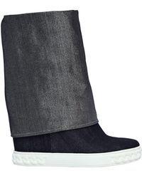 6ec7665296e0 Casadei - 80mm Glitter Effect Denim Wedge Sneakers - Lyst Wedge Sneakers