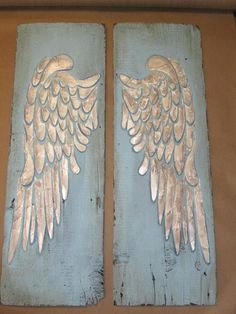 painted angel wings - wood decor