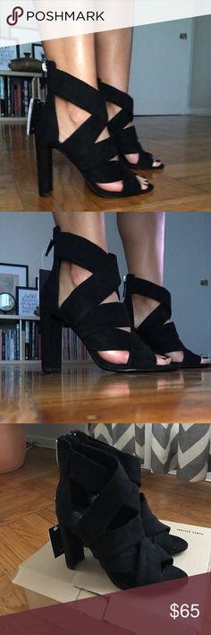 NEVER WORM - black strappy heels Suede heels with zipper in back Zara Shoes Heels