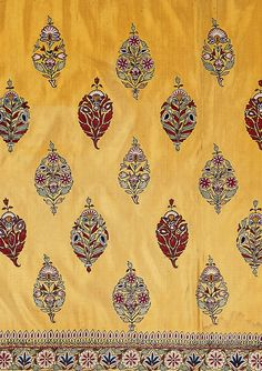 style court: On the Borderline Again - Skirt cloth, silk embroidered with silk thread, Kutch, Gujurat, circa 1850 ©Victoria & Albert Museum. Motif Design, Textile Design, Pattern Design, Indian Fabric, Indian Textiles, Vintage Embroidery, Embroidery Designs, Machine Embroidery, Fabric Patterns