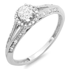 14k White Gold 2/5ct TDW Round Diamond Bridal Ring (H-I, I1-I2) | Overstock.com Shopping - Top Rated Engagement Rings