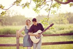 Engagement pictures with guitar