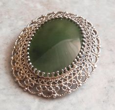 Nephrite Jade Brooch Pendant Sterling Silver Gold Wash Karen Lynne Vintage V0666 by cutterstone on Etsy #nephritejade #broochpendant #sterlingsilver #KarenLynne #vintage