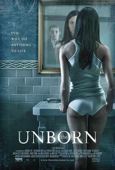 this poster is really effective it sums up the while film straight away. it shows the child in the mirror, who tries to take over the woman's body is a very pacey film and its scary, the title also gives a hint to the most important part.