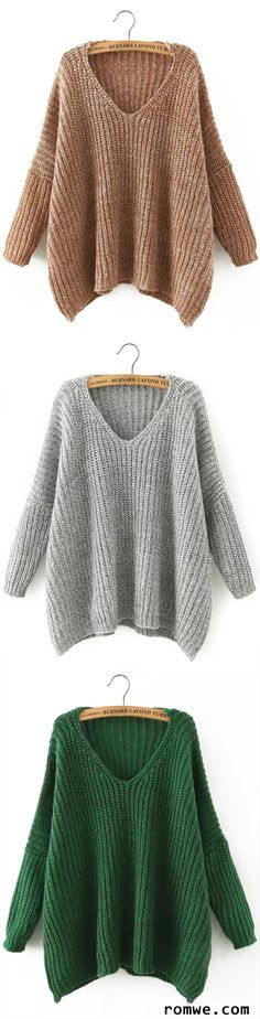 V Neck Batwing Sleeve Loose Sweater