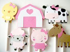 12 Girl Farm Animal Barnyard Cupcake Toppers, Cupcake Toppers, Farm Animals Cupcake Toppers, Pig, Sheep, Chick, Cow, Horse, Barn