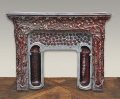 Extraordinary antique Art Nouveau  stoneware fireplace signed by Emile Müller, after a model by Charles Genuys